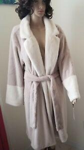 Calvin-Klein-Faux-Fur-Plush-Womens-Coat-Tie-Robe-Lounge-Wear-Size-Large-Beige
