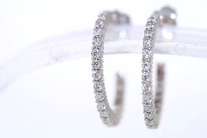 NEW 14k White Gold  60ctw Round Diamond 5/8 Inch Hoop Earrings (F-G,  SI1-SI2)