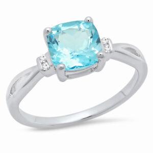 Round 7mm Sterling Silver 2.5ct Swiss Blue Topaz Diamond Engagement Wedding Ring
