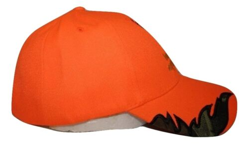 Hunters Will Do Anything For A Buck Neon Orange Camo Embroidered Cap Hat 914A1