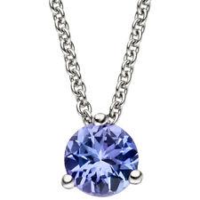 NEU Luxus Halskette Edelstein Anhänger Tansanit blau 585er Weißgold 585 Collier