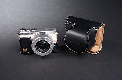 Genunie Real Leather Full Camera Case Bag for Panasonic GM1 GM1S 12-32 lens Open