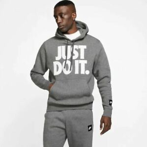 Details about NWT Men's Nike Sportswear Just Do It Fleece Pullover Hoodie Charcoal Heather Wh