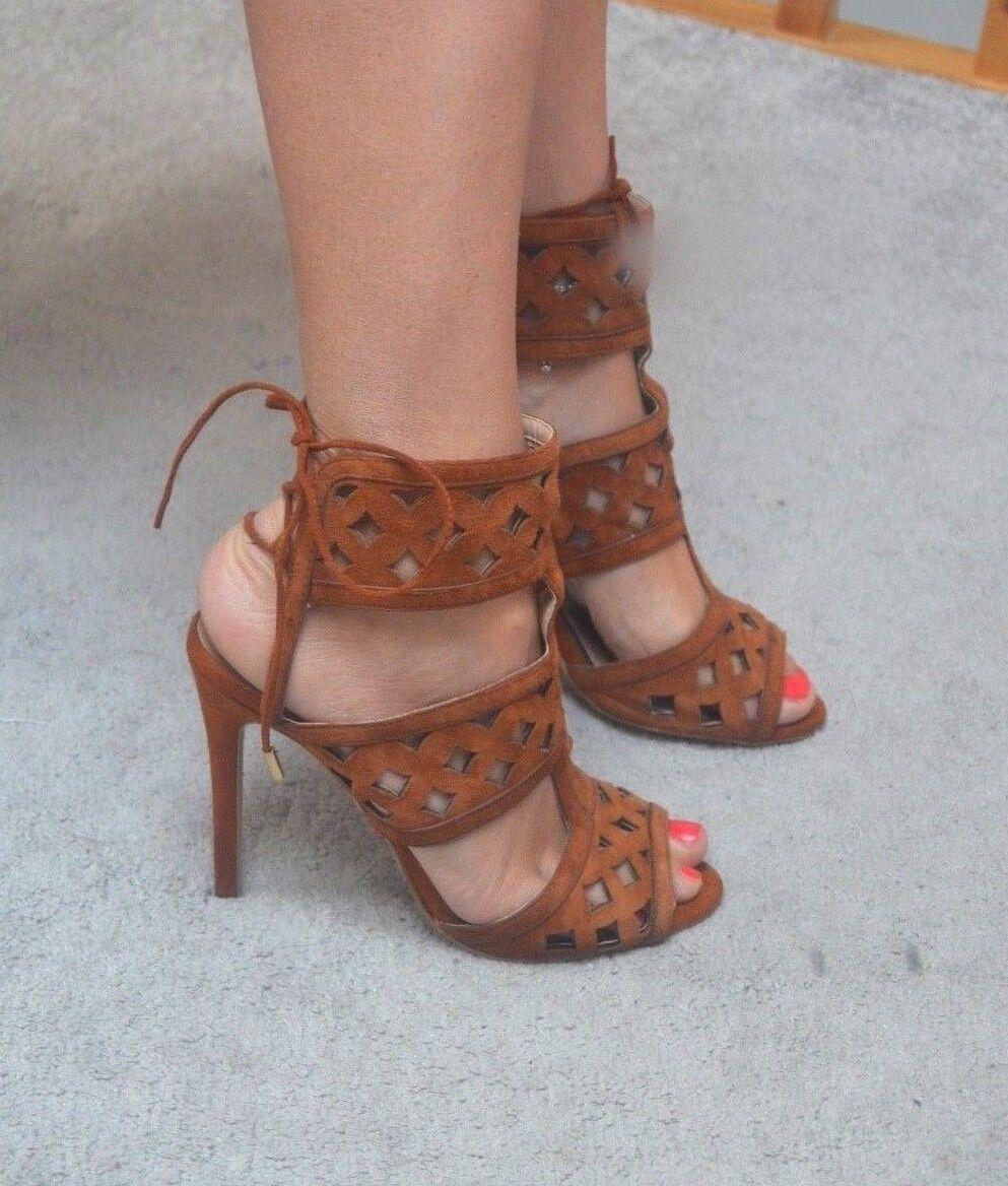 RIVER ISLAND Ralph marron suede tie up stilletto high heels heels heels sandals 5 UK 38 c383bc
