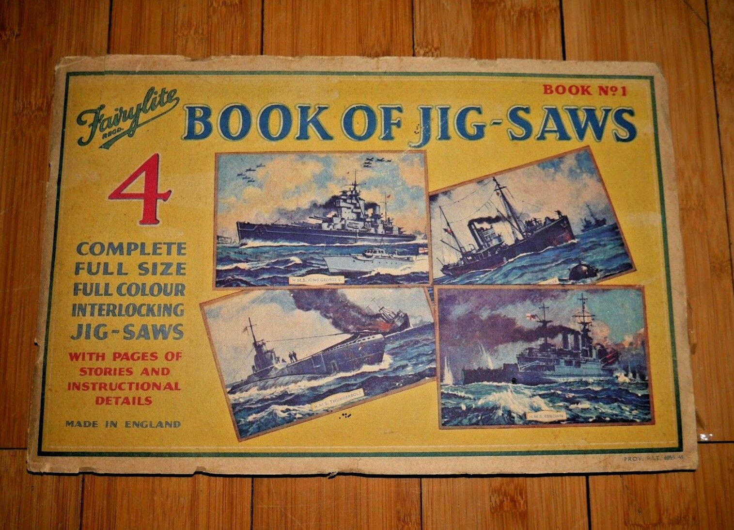Fairylite Book of 4 Jigsaws WW2 WWII British Naval Fleet 1941 Very Rare   D001
