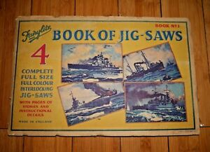 Fairylite Book Of 4 Jigsaws Ww2 Wwii Flotte Navale Anglaise 1941 Très Rare D001