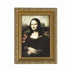 Vintage-golden-gerahmtes-Bild-von-Mona-Lisa-1-12-Puppenhaus-3-2-034-x-2-4-034-B9B5