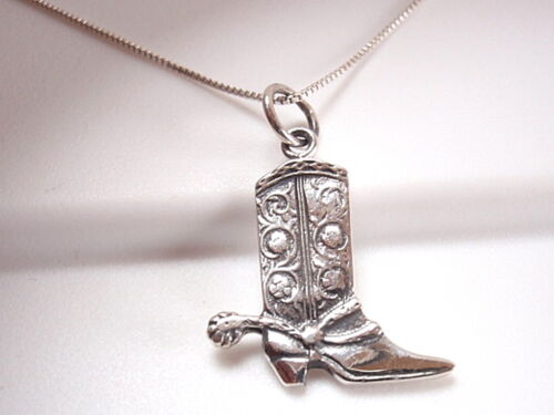 Cowboy boot with spur Collier Argent Sterling 925 Corona Sun Jewelry RODEO