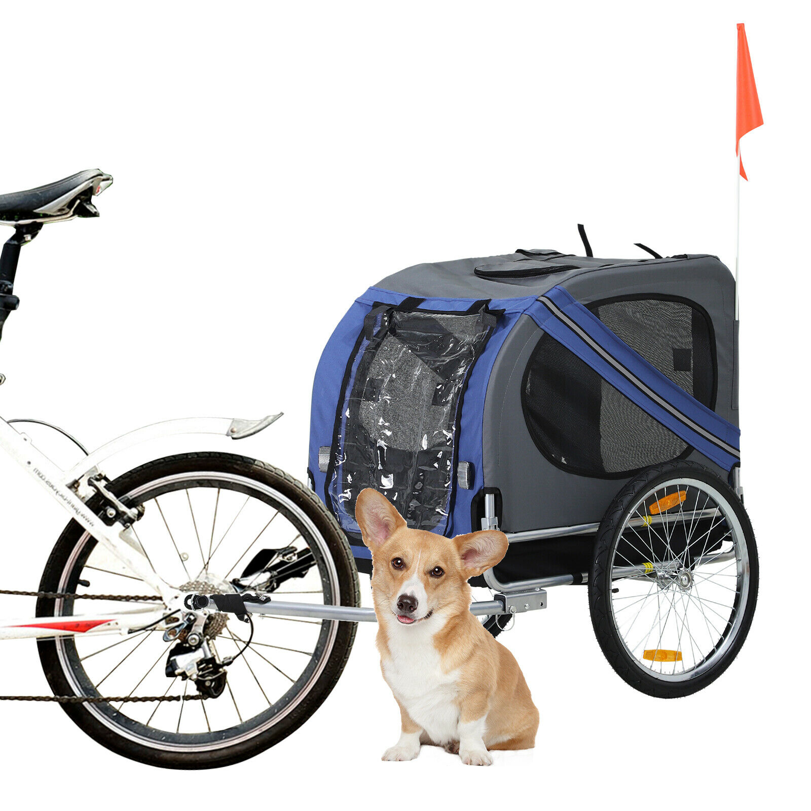 Aosom Elite Pet  Dog Bike Trailer Folding Bicycle Trailer Stroller Jogger bluee  online