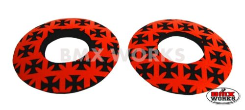 Pairs Red /& Black Iron Cross Flite Old School BMX Grip Donuts