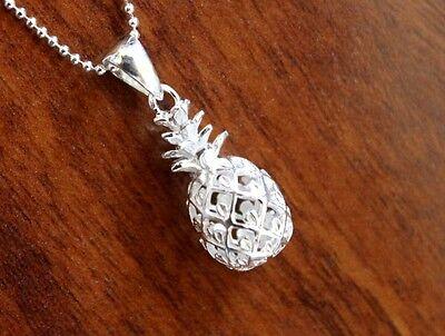 Hawaiian 925 Sterling Silver Jewelry Hawaii Pineapple Pendant Necklace # SP49901