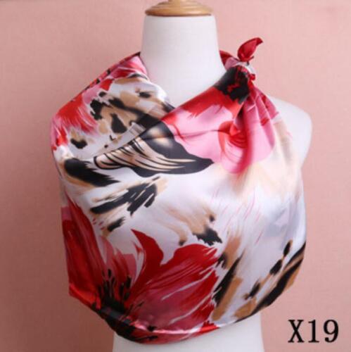 "90 New Women/'s Summer Silk Fashion Satin Square Scarves Head Châle Couleurs 90/"""