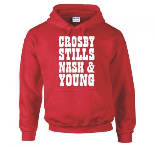 "CROSBY NASH /& YOUNG /""BAND LOGO/"" HOODIE NEW STILLS"