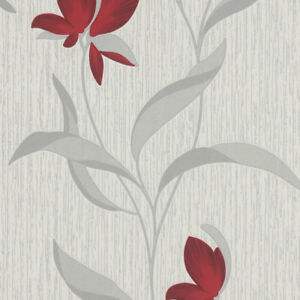 Image Is Loading Red Silver Flower Wallpaper Glitter Fl Textured Modern