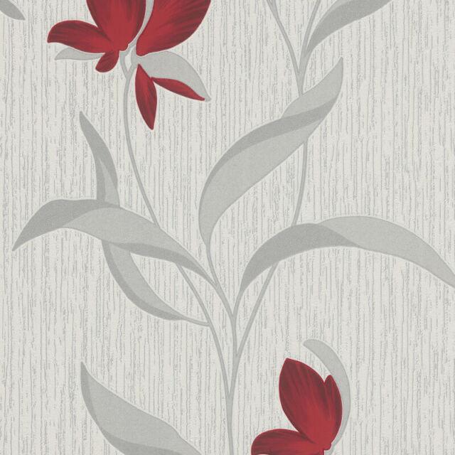 Red Silver Flower Wallpaper Glitter Fl Textured Modern White Vinyl Erismann