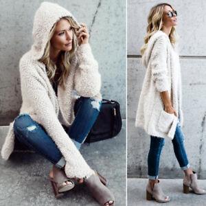 Women-White-Hoodie-Outwear-Hooded-Knit-Cardigan-Long-Sleeve-Sweater-Jacket-Coat