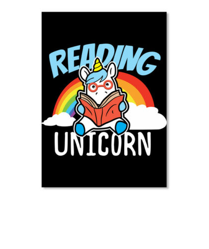 Details about  /Reading Book Lover Unicorn Sticker Portrait