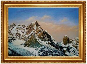 Olbild-Breithorn-Riemannhaus-Sommerstein-Bergbilder-Alpen-HANDGEMALT-F-50x70cm