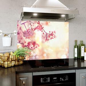 Brillant Splashback En Verre Cuisine Cuisinière Cherry Tree Bloom Fleurs Soleil Toute Taille 0475-afficher Le Titre D'origine Confortable Et Facile à Porter