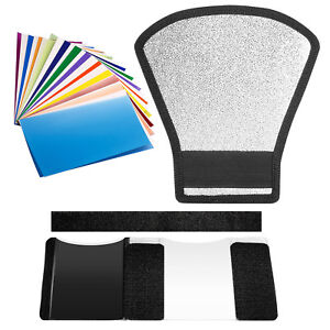 Neewer Double Site Sliver White Flash Diffuser Reflector and 12 Color Filter Kit 191073020429