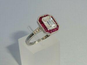 Damen-Art-Deco-Halo-Style-925-Pfund-fein-Silber-Rubin-weisser-Saphir-Ring