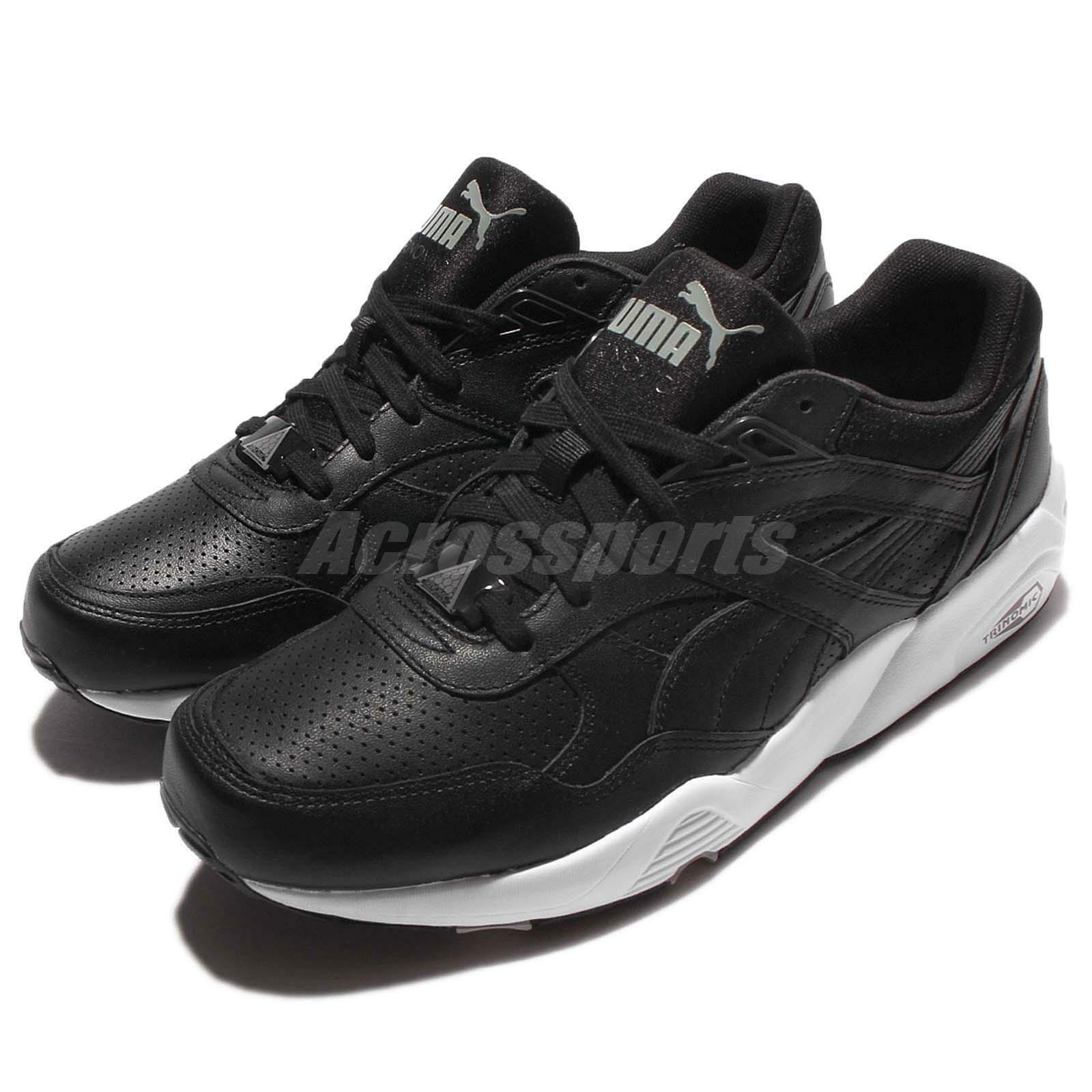 Puma R698 Core Leather Trinomic Black White Men Running Shoes Sneakers 360601-02