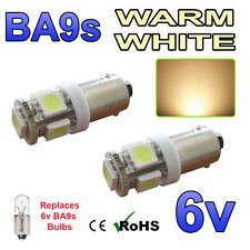 2 x Warm White 6v LED Side Light BA9s Bayonet Classic Car Scooter Bright Bulbs