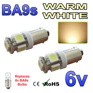 2 x 6v Bright White LED Side Light LED