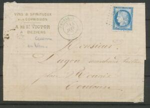 1875-Lettre-N-60-Obl-GC6386-BLEU-CAD-CESSENON-HERAULT-33-RARE-X2867