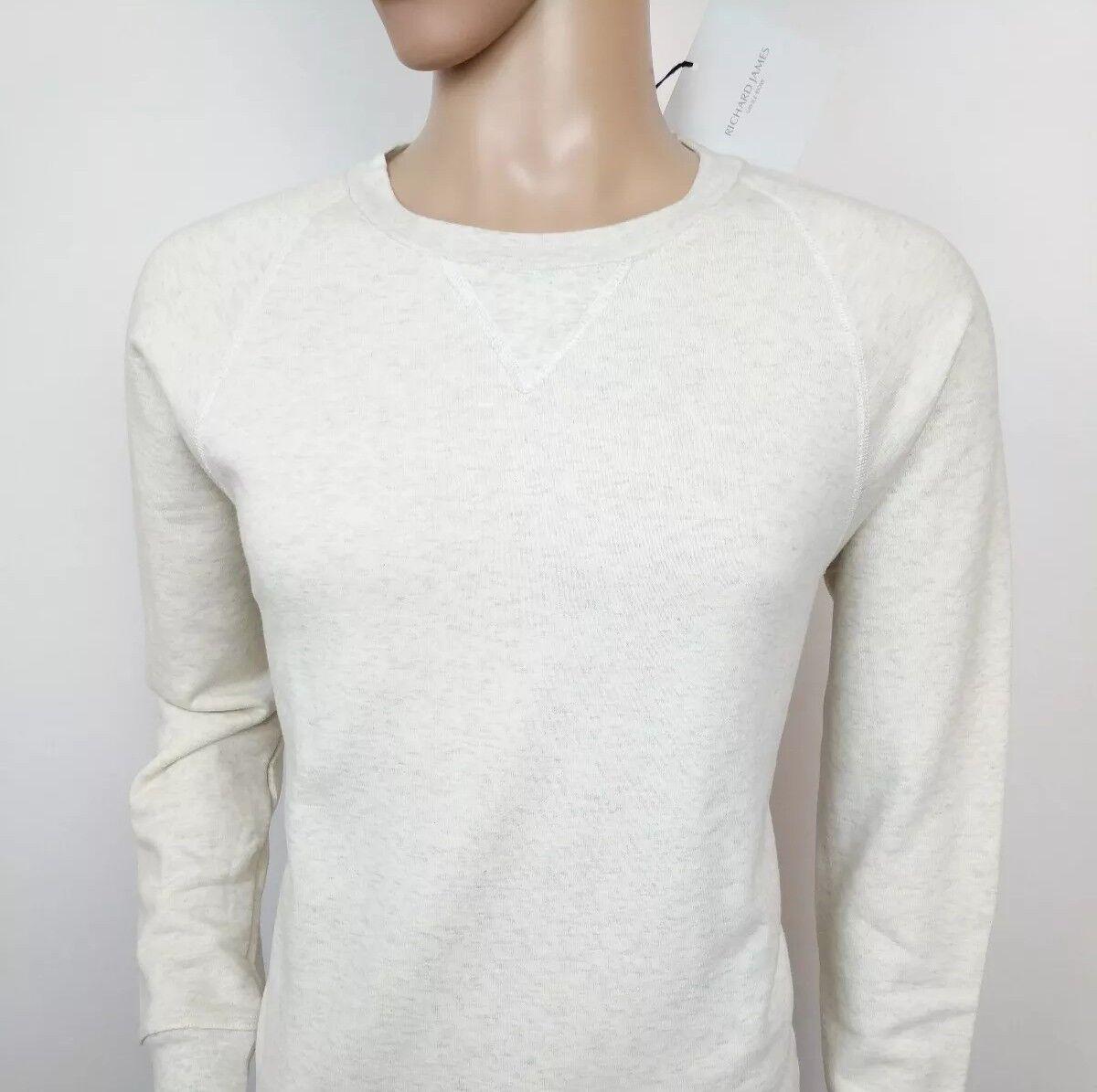 Richard James  Herren Crew Jumper Cream Pure Cotton Sweater Größe L New