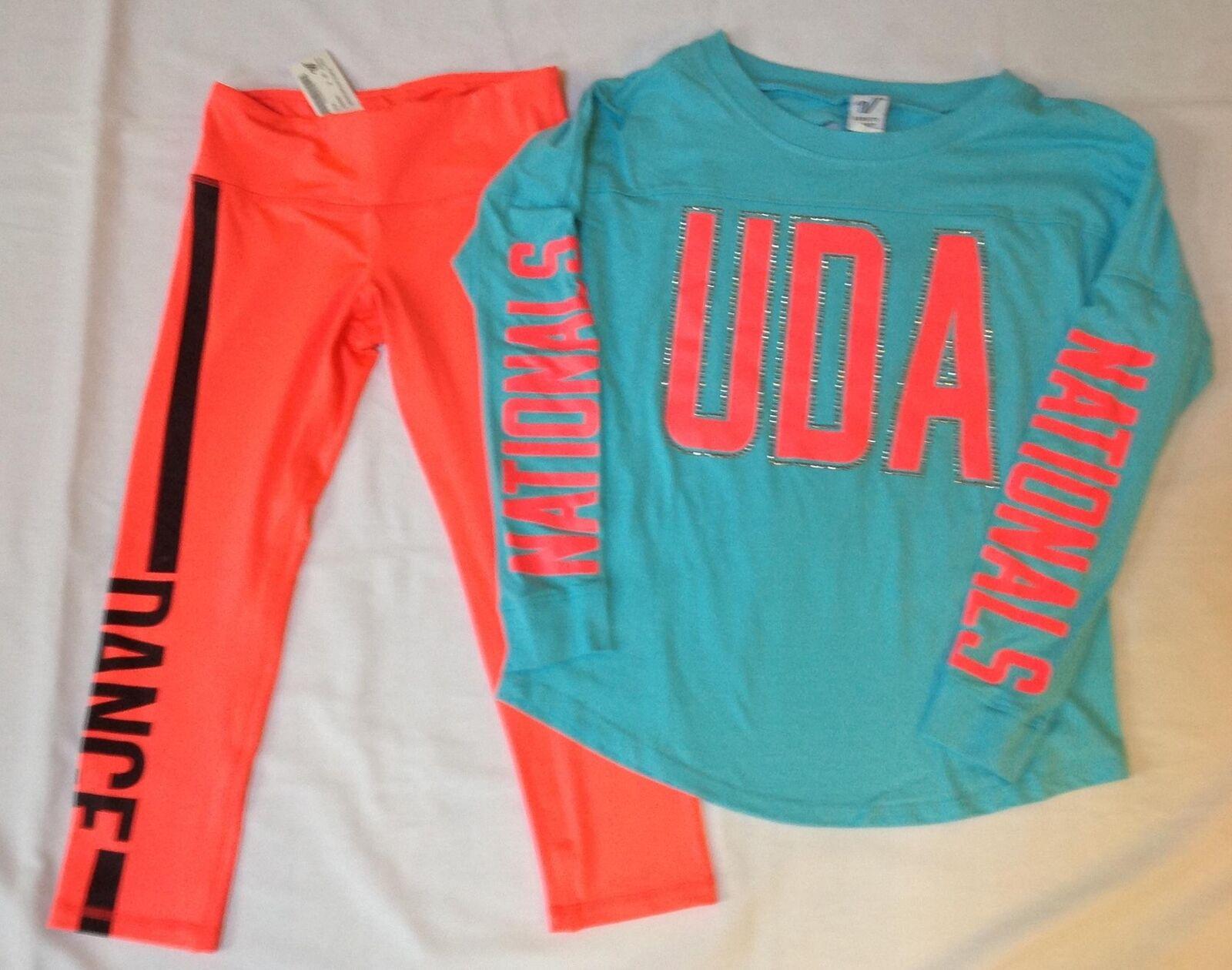 Varsity Spirit UDA Dance 2016 Nationals turquoise bling shirt pink leggings XS S