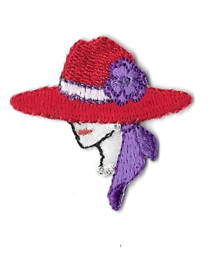 Red Hat Lady Left SMALL Embroidered Iron On Applique Patch