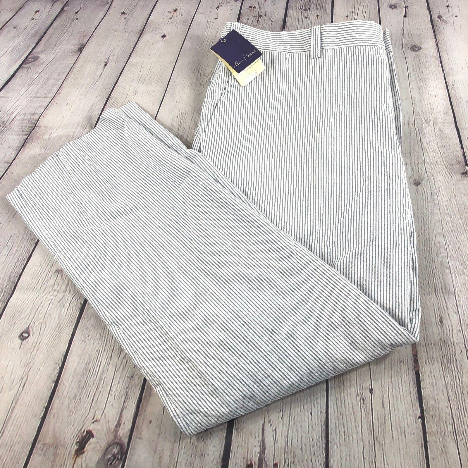 NWT Alan Flusser Men's bluee White Stripe 'Simon' Pants 100% Cotton Sz 40x30
