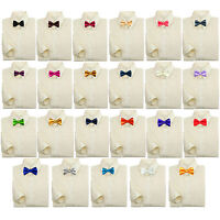 Baby Kids Boy Formal Party Suit Ivory Button Down Dress Shirt Color Bow Tie 0-7
