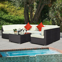 Outdoor 7pc Furniture Sectional Pe Wicker Patio Rattan Sofa Set Couch Brown on sale