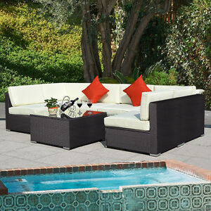 Outdoor 7pc furniture sectional pe wicker patio rattan for Belmont 4 piece brown wicker patio chaise lounge set