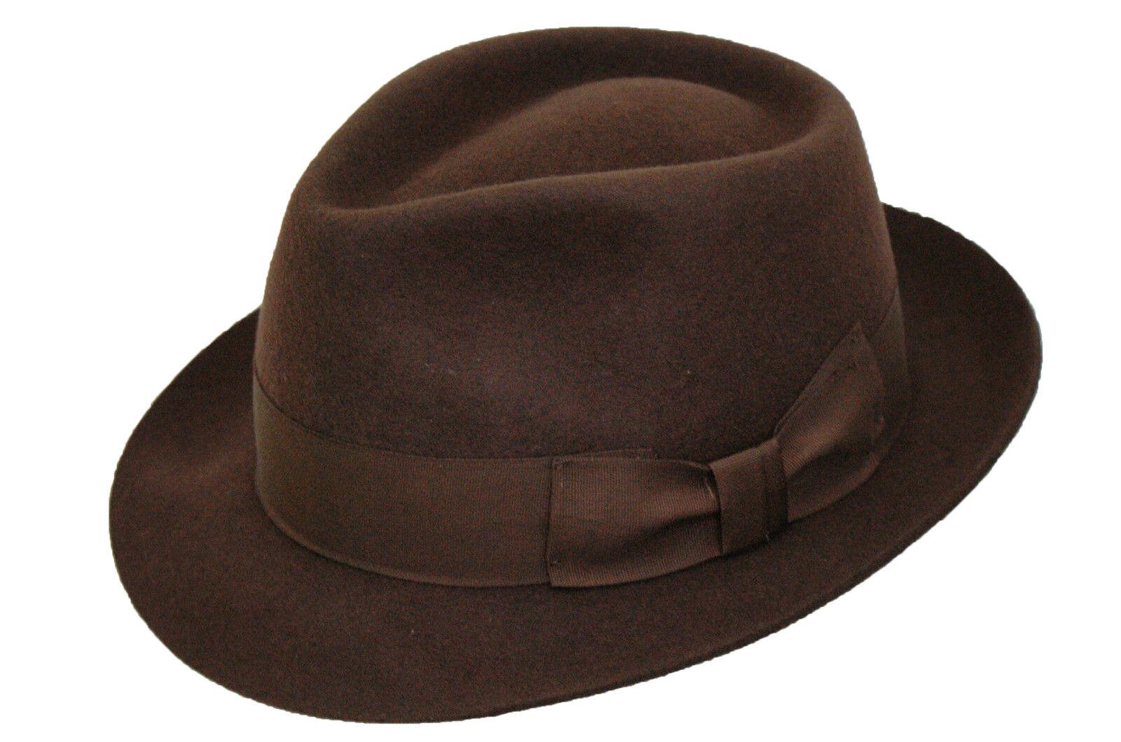 Herren 100% Wolle Handgefertigt Brown Manhattan Filz Fedora Hut Mit Breites Band