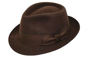 HOMBRE-100-lana-hecho-a-mano-marron-Manhattan-Fedora-De-Fieltro-Sombrero-Trilby