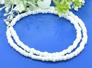 Trendige Herren Glasperlenkette kurz Weiß Collierkette Perlenkette  60 cm