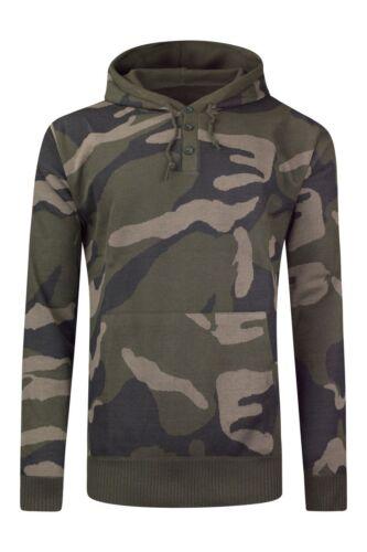 NEW Men Camo Fleece Hoody Long Sleeve Henley Buttons Pocket Sweater Pullover