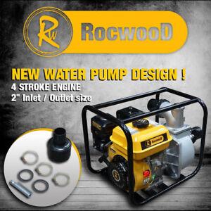 "Petrol Water Pump 2"" 5.5HP 4 Stroke Engine Rocwood 650 Litres Per Min 7227778945088"