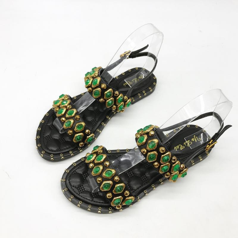 Sandales Élégant Basses Chaussons Couleuré noir vert Confortable Cuir Synthetique