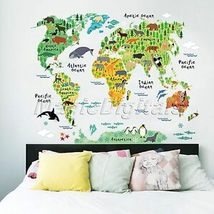 Animals-Safari-World-Map-Mural-Decals-Kids-Room-School-Home-Decor-Wall-Stickers