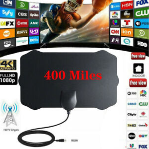 Antenna-TV-Digital-HD-300-Mile-Range-Skywire-Indoor-1080P-4K-16ft-Coax-Cable-USA