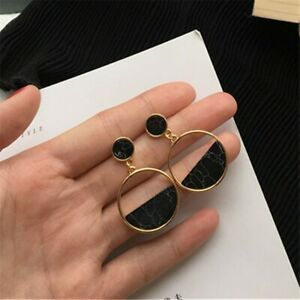 Handmade-fashion-simple-geometric-circular-marble-long-earrings-girls-popular