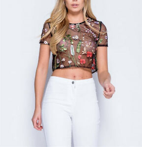 6f21be1672e Women's Sexy Mesh Flower Embroidery Short Sleeve Tank Top Cami Crop ...