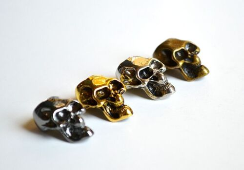 Chrome//Black//Bronze//Gold 15 Metal Skull Beads Paracord Bracelets US Seller