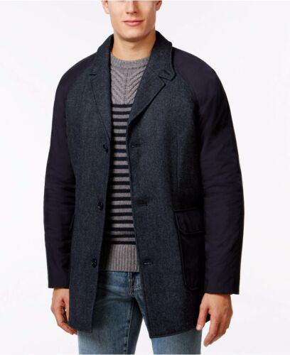 Tommy Hilfiger Car Coat Mens Wool-Blend Jacket Combo Heros Topcoat Outerwear