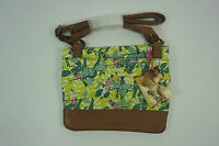 White Stuff Lizzie Small Cotton Canvas Leather X Body Bag Bird Print Green