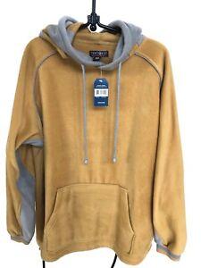 Mens-M-Fleece-Pullover-Hoodie-Kangaroo-Pocket-Sandy-Yellow-NWT-Ten-West-Apparel